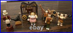 12 Piece Set Of Rare Vintage Wolf Creek Wooden Circus Performers And Animals