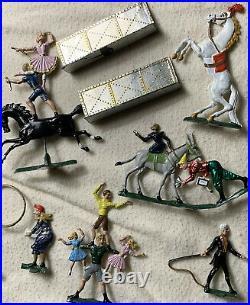 16 Piece Antique German Toy Circus Lead Flat Figures Heinrichsen Britains Mignot