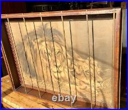 1910 Shop Of The Crafters, Cincinnati, Mission Oak Caged Circus Lion Framed