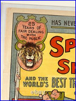 1911 Antique Sparks Circus Carnival Program poster AMAZING courier