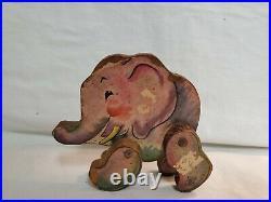 1930's Antique Fisher Price Woodsy Circus Animals. Set Of 7