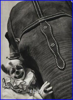 1940s Vintage CIRCUS CLOWN & ELEPHANT Animal Ringling Brothers Photo Art 12x16