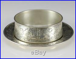 1950s J. E. Caldwell & Co. Sterling Silver Child's Bowl with Saucer Circus Animals