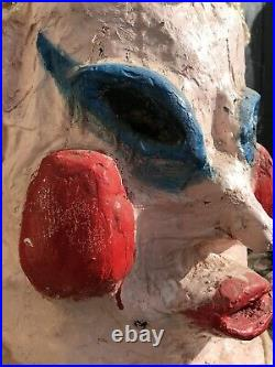 1960's French Carnival Papier Mache & Plaster Head/Mask Of A Lady Funfair/Circus