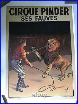 2 Vintage Original Pinder Circus Posters Lion And Tiger Circa 1930