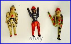 3 small charming high quality antique articulated Erzgebirge toy circus figures