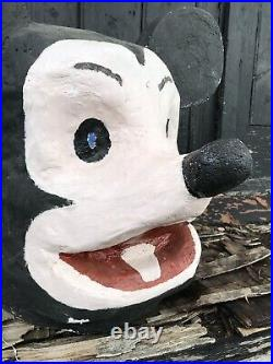 60's French Carnival Papier Mache Plaster Mickey Mouse Head/Mask Funfair Circus