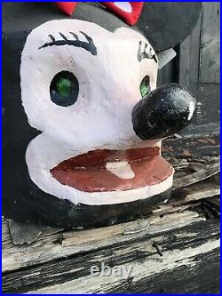 60's French Minnie Mouse Carnival Papier Mache Plaster Head/Mask Funfair/Circus