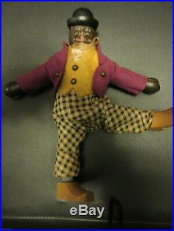 9 Antique American Schoenhut Circus Black Midway Barker Doll All Original