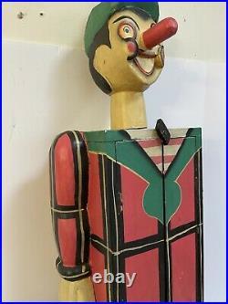 ANTIQUE CIRCUS FOLK ART CARNIVAL CLOWN CABINET WOOD HAND CARVED 41x7 See Deacrip