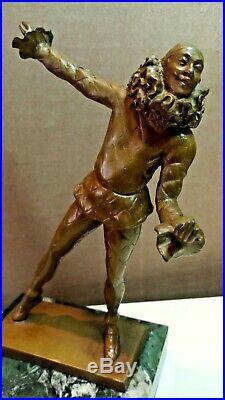 ART DECO BRONZE FRENCH CLOWN SCULPTURE 1920-30's SAMUEL LIPCHYTZ