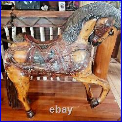 Antique 1890s Hand Painted Wood Carousel Carnival Circus Horse Folk Art