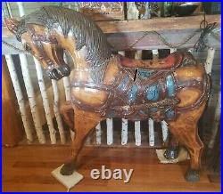 Antique 1890s WOOD Hand Painted Carousel Carnival Circus Horse Folk Art