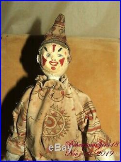 Antique 1910's SHOENHUT Humpty Dumpty Circus Clown Original Outfit Wood Doll