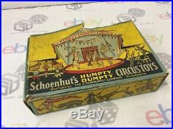 Antique 1910s Schoenhut Humpty Dumpty Circus Clown Elephant Wooden Set Toy Boxed