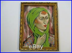 Antique 1920's Oil Painting American Impressionist Female Woman Green Model