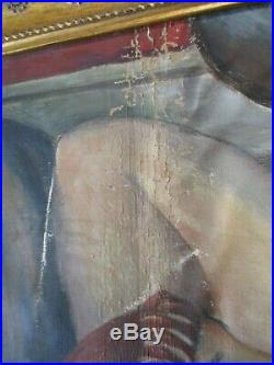 Antique 1920's Oil Painting American Impressionist Female Woman Semi Nude Model