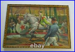 Antique 1920's Oil Painting Large 36 Inch Circus Performer Americana Acrobat Wpa