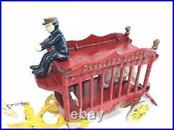 Antique, 1930/40 KENTON cast iron horse drawn Circus Wagon, complete set