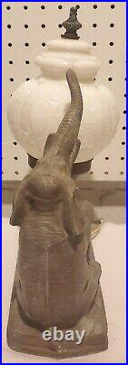 Antique 30's-40's Rare Circus Elephant Table Lamp Cast Metal #186