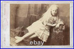 Antique ALBINO GIRL Circus Sideshow BIRDIE MORRELL Performer CABINET CARD Photo
