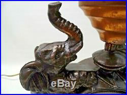 Antique Art Deco Bronze Color Circus Lamp with Clown, Drum, Elephant and Balloon