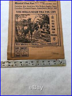 Antique Broadside Circus Show Poster Virginia Minstrels 1924 J. W. Johnsons