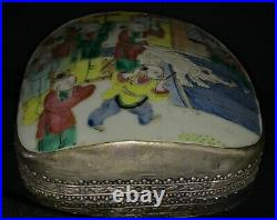 Antique Chinese HEAVY 326 G Silver Box with Porcelain Circus Elephant Top Ca. 1900