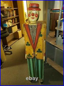 Antique Circus Carnival Folk Art Clown Cabinet Hand Carved Wood Cabinet RARE
