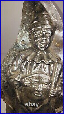 Antique Circus Clown Chocolate Mold Man in Moon Figurine Vintage Metal Candy