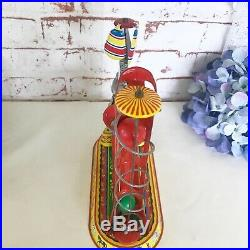 Antique Circus Elephant Wind-Up Tin Litho Toy, Vintage Circus spinning balls, US