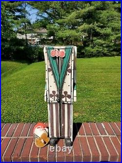Antique Circus Folk Art Carnival Clown Hand Carved Painted Wood Cabinet
