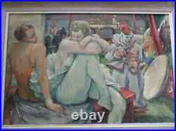 Antique Circus Performer Painting Frederick Buchholz Wpa American Regionalism