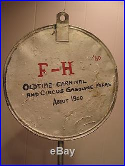 Antique Edwardian 1910 Old American Carnival Circus Folk Gas Lamp Gibson City IL