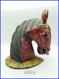 Antique Fairground / Circus Wooden Colourful Horses Head Reclaimed Salvage
