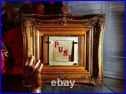 Antique Framed Fairground Circus Funfair PUSH Prize Trap Door Sign