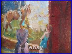 Antique Impressionist Oil Painting Circus Show Acrobats Wpa Style Elephants