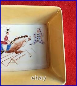Antique Italian Art Deco Porcelain Bowls Hand Painted Circus Tray 1930 Gio Ponti