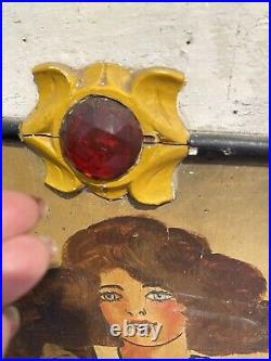 Antique Jeweled carnival/circus wood panel board Sign Hand Painted Original