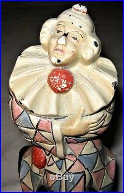 Antique Judd USA Cast Iron Clown Jester Harlequin Art Circus Toy Door Doorstop