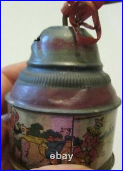Antique Litho Wind Up Noise Toy Clown Circus Black Americana Alligator Works