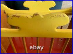 Antique Little Circus Wagon Vintage Pull Toy Wood Cart Bear & Doll Display
