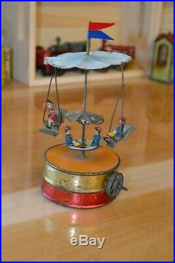 Antique Live Steam Toy Merry Go Round Vintage Tinplate Circus/Carnival Toy