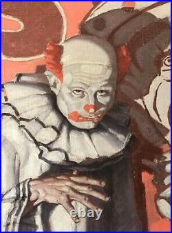 Antique MEAD SCHAEFFER Portrait Clown Circus Vermont MA NY Poster Illustrator