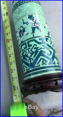 Antique One -of-a-kind Cloisonne Lamp Chinese Circus Theme