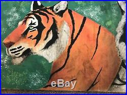 Antique Painted Circus Carnival Sideshow Canvas Banner Tigers, Signed Folk Art