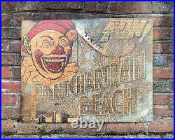 Antique Pontchartrain Beach Sign New Orleans Carnival Advertising Tin Circus