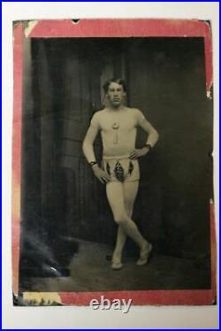 Antique Rare Occupational Tintype Set Circus Performer Trapeze Artist & Clown