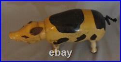 Antique Schoenhut Glass Eye Spotted Pig, Humpty Dumpty Circus, American folk art