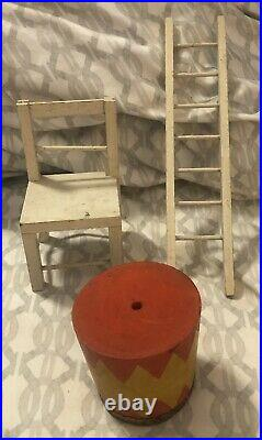 Antique Schoenhut Humpty Dumpty Circus Lot Monkey Clown Elephant Pamphlet Toys